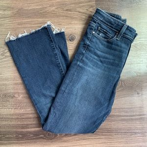 Paige Dark Wash Cropped Flare Jeans